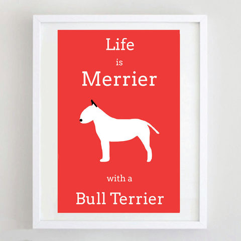 Bull,Terrier,Print,Life is Merrier with a Bull Terrier, Bull Terrier Print, Bull Terrier Poster