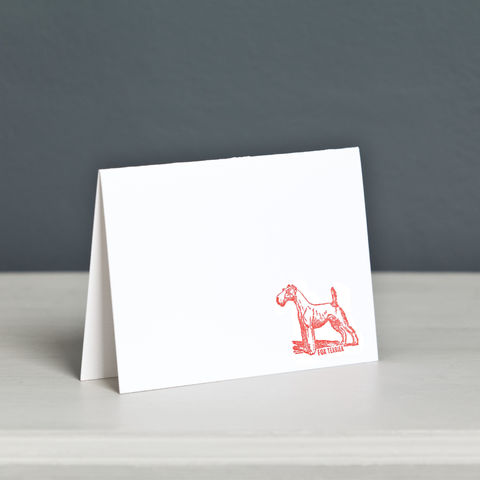 Fox,Terrier,Letterpress,Card,Fox Terrier Letterpress Card, Dog Letterpress Card, Terrier Letterpress Card, Wire Fox Terrier Card