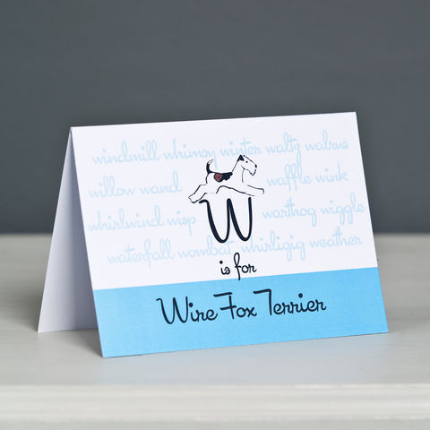 Wire,Fox,Terrier,Alphabet,Greeting,Card,Wire Fox Terrier Card, Fox Terrier Card, Wire Haired Fox Terrier Card