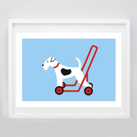 Dog,On,Wheels,Print,1,Dog On Wheels Print, Vintage Toy Dog