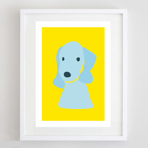 Yellow,Bedlington,Terrier,Print,Terrier Print, Bedlington Terrier