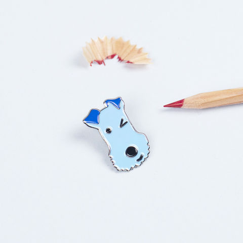 Winking,Dog,Enamel,Lapel,Pin,Terrier Lapel Pin, Dog Lapel Pin, Terrier Jewellery, Terrier Brooch, Winking Dog