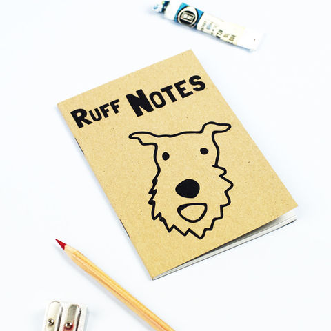Ruff,Notes,Notebook,Terrier Notebook, Terrier Gift, Terrier Notepad, Terrier Stationery, Dog Notebook, Dog Gift, Dog Notepad, Dog Stationery
