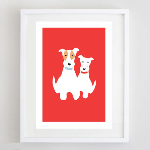 Fox,Terrier,Twosome,Print,Wire Fox Terrier Print, Fox Terrier Gift