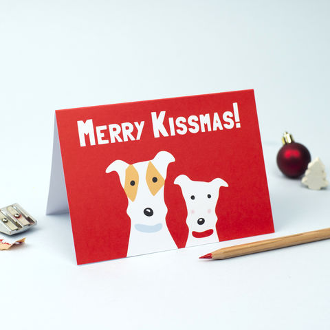 Merry,Kissmas,Card,Fox Terrier Christmas Card, Merry Kissmas