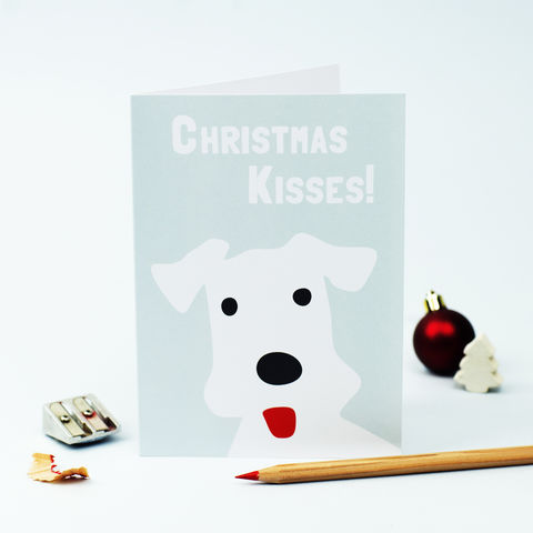 Christmas,Kisses,Card,Fox Terrier Christmas Card, Christmas Kisses