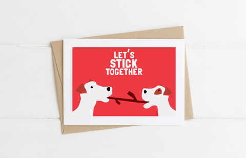 Let's,Stick,Together,Card,Valentine's Day Card, Valentine's Day, Dog Lover Card, Funny Card