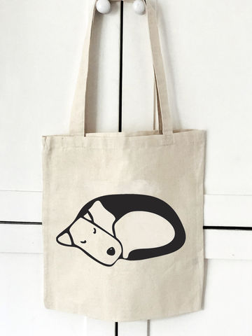 Sleeping,Dog,Tote,Bag,Tote Bag, Canvas Bag, Terrier Bag, Book Bag, Shopper