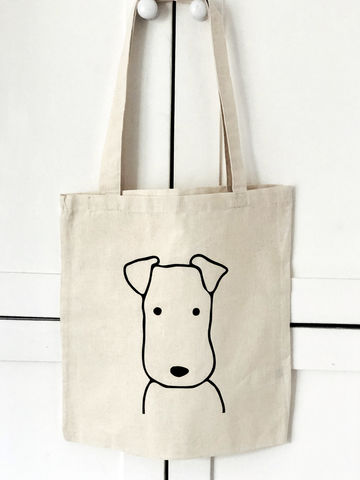 Terrier,Head,Tote,Bag,Terrier Tote Bag, Canvas Bag, Book Bag, Tote Bag