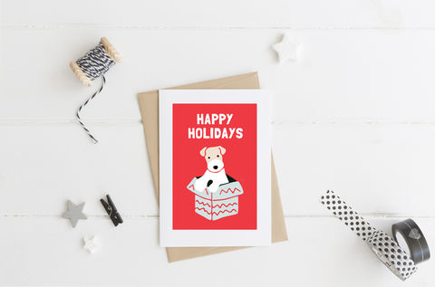 Happy,Holidays,Card,Happy Holidays, Funny Card, Merry Christmas, Card for Dog Lover, Card for Terrier Lover