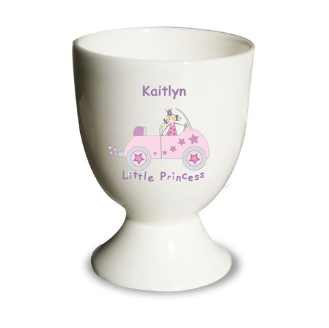 Little,Princess,in,Car,Egg,Cup,Little Princess in Car Egg Cup,childs egg cup,personalised egg cup