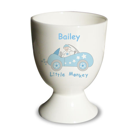 Little,Monkey,in,Car,Egg,Cup,Little Monkey in Car Egg Cup,bone china egg cup,personalised bone china egg cup,childs egg cup,childrens egg cup