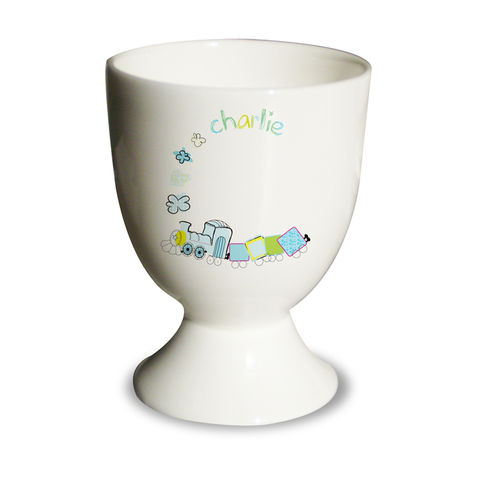 Patchwork,Train,Egg,Cup,Patchwork Train Egg Cup,egg cups,childs egg cups,childrens egg cups,personalised egg cup