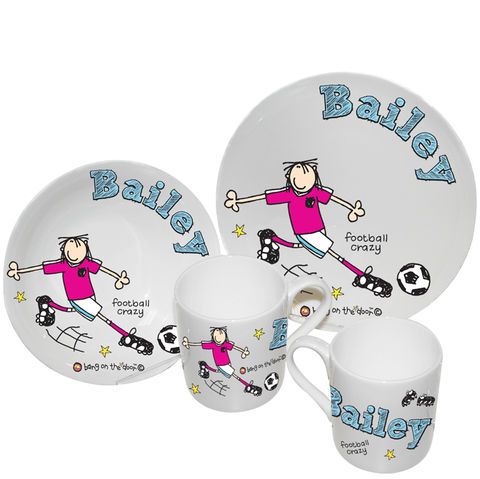 Bang,on,the,Door,Football,Crazy,Breakfast,Set,Bang on the Door Football Crazy Breakfast Set,boys breakfast set,boys personalised breakfast set,childs breakfast set