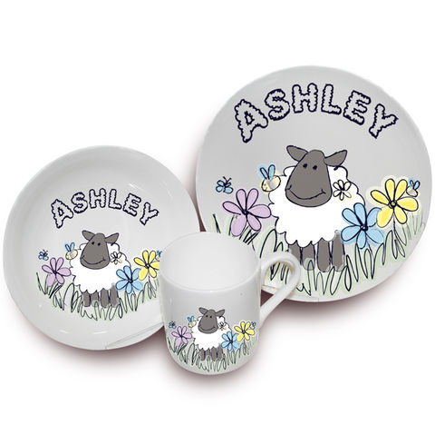 Farmyard,Sheep,Breakfast,Set,Farmyard Sheep Breakfast Set,breakfast set,childs breakfast set,personalised breakfast gift set.