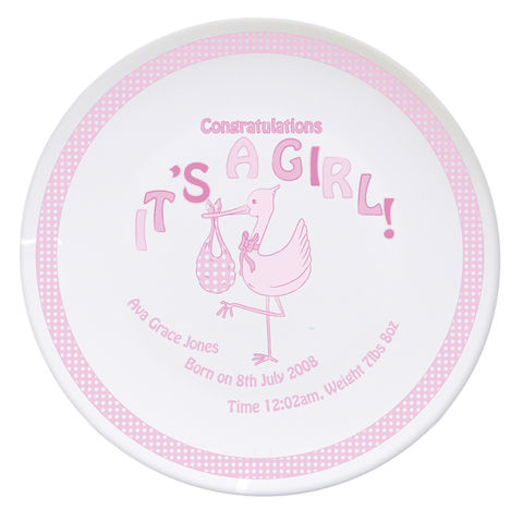Stork,It's,a,Girl,Plate,Stork It's a Girl Plate,its a girl plate,personalised girls plate,childs plate