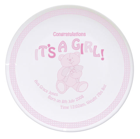 Teddy,It's,a,Girl,Plate,Teddy It's a Girl Plate,girls plate gift,personalised girls plate,its a girl plate