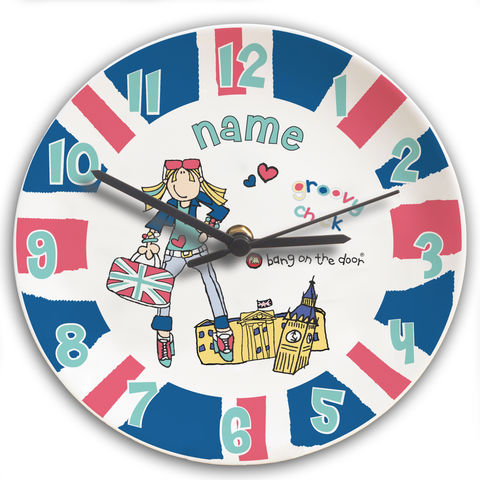 Bang,on,the,Door,London,Chick,Clock,Bang on the Door London Chick Clock,london wall clock,personalised london wall clock,childs wall clock