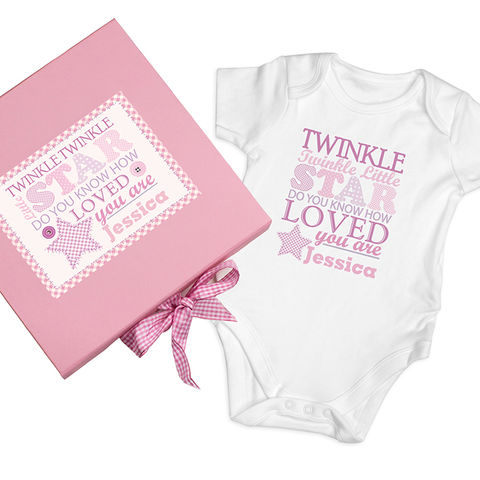 Twinkle,Girls,Pink,Gift,Set,-,Baby,Vest,Twinkle Girls Pink Gift Set - Baby Vest,personalised girls vest,girls gift vest
