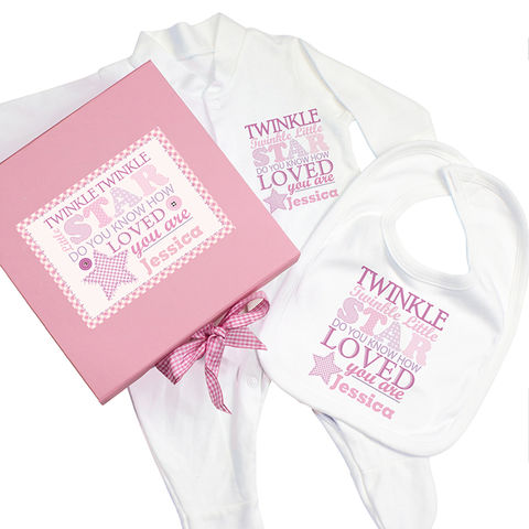 Twinkle,Girls,Pink,Gift,Set,-,Babygrow,&,Bib,Twinkle Girls Pink Gift Set - Babygrow & Bib,pink girls gift set,pink girls personalised gift set.babygrow gift set