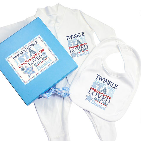 Twinkle,Boys,Blue,Gift,Set,-,Babygrow,&,Bib,Twinkle Boys Blue Gift Set - Babygrow & Bib,personalised boys gift set,personalised gift set,babygrow bib gift set