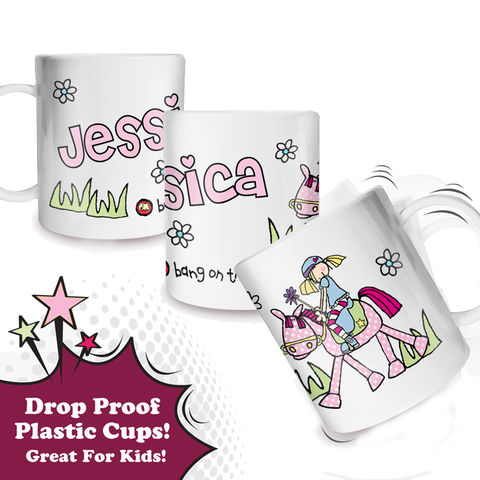 Bang,on,the,Door,Pony,Girl,Plastic,Cup,Bang on the Door Pony Girl Plastic Cup,plastic cups,kids plastic cups,personalised plastic cups