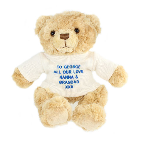 Blue,Teddy,Message,Bear,Blue Teddy Message Bear,blue teddy,blue teddy bear,personalised teddy bear,boys teddy bear