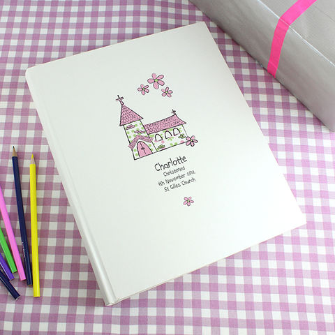 Whimsical,Church,Pink,Traditional,Album,Whimsical Church Pink Traditional Album,photo album for new borns,photo album for christenings,photo album for first holy communion,photo album for first birthday,photo album for 1st album