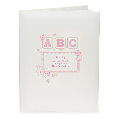 Personalised,Baby,Girl,Pink,ABC,Traditional,Photo,Album,Personalised Baby Girl Pink ABC Traditional Photo Album