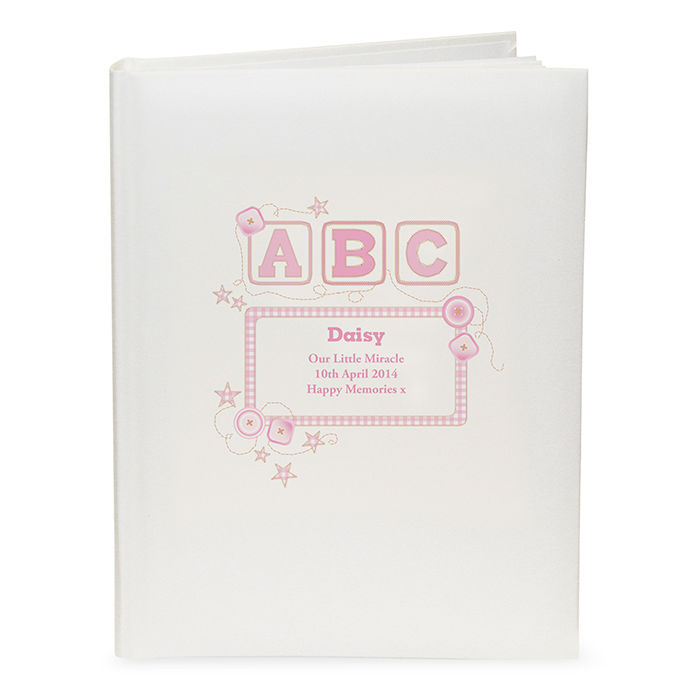Personalised Baby Girl Pink Abc Traditional Photo Album Childrens