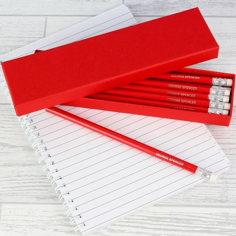Box,of,Red,Pencils,Box of Red Pencils,Personalised Pencils,Stationary