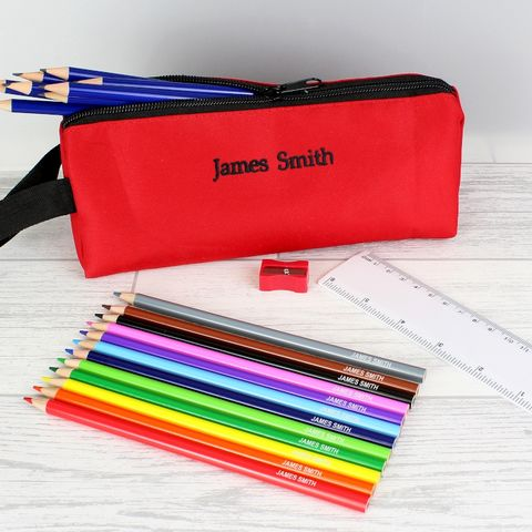 Red,Pencil,Case,&,Personalised,Content,Red Pencil Case & Personalised Content,red pencil case,personalised red pencil case,personalised pencils,child personalised stationary