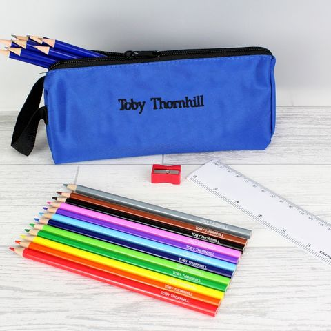 Blue,Pencil,Case,&,Personalised,Content,Blue Pencil Case & Personalised Content,pencil pack,personalised pencil pack childs pencil pack,children pencil pack,boys pencil pack,pencil sets