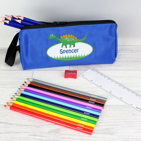 Blue,Dinosaur,Pencil,Case,&,Personalised,Contents,Blue Dinosaur Pencil Case & Personalised Contents, boys personalised pencil case, boys pencil case