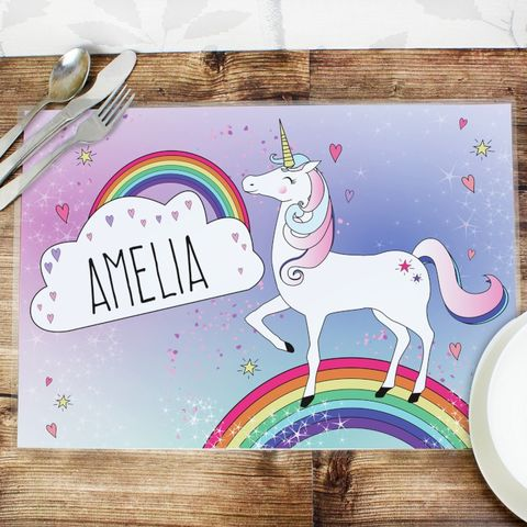 Personalised,Unicorn,Placemat,Fun Placemats, Personalised Unicorn Placemat, placemat, girls placemat
