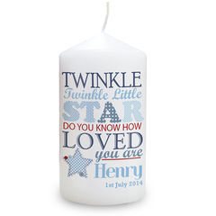 Twinkle,Boys,Candle,Twinkle Boys Candle,boys candle,personalised boys candle,childs candle,childrens candle,childs christening candle,childs birthday candle