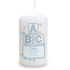 Blue,ABC,Candle,Blue ABC Candle,childs abc candle,childrens candle,childs personalised candle,boys candle,boys personlised candle
