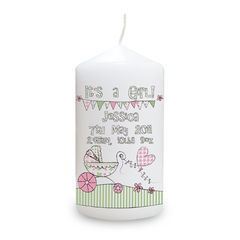 Whimsical,Pram,Its,a,Girl,Candle,Whimsical Pram Its a Girl Candle,baby girl candle,personalised girl candle,personalised baby girl candle,childs candle,childrens candle