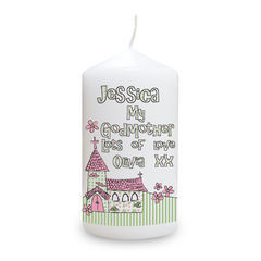 Whimsical,Church,Godmother,Candle,Whimsical Church G,odmother Candle, Personalise Candle,Personalised Godmother Candle,Godmother gifts,Childs Personalised Candle,Childrens Personalised Candle,Kids Personalised Candle