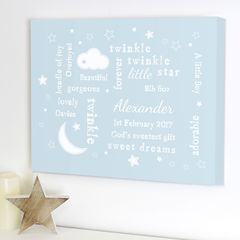Personalised,Twinkle,Typography,Blue,Canvas, Personalised Twinkle Twinkle Typography Blue Canvas, personalised boys canvas, twinkle twinkle canvas