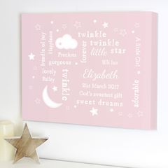 Personalised,Twinkle,Typography,Pink,Canvas,Personalised Twinkle Twinkle Typography Pink Canvas, personalised canvas, twinkle twinkle canvas