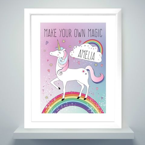 Personalised,Unicorn,Poster,Frame,Personalised Unicorn Poster Frame,Unicorn Poster Frame,Personalised Unicorn Poster