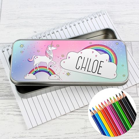 Personalised,Unicorn,Pencil,Tin,with,Crayons,Personalised Unicorn Pencil Tin with Pencil Crayons,Pencil Case and Pencils Unicorn