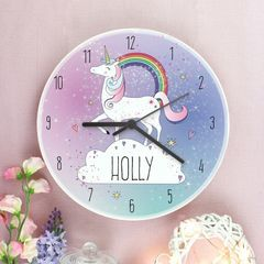 Personalised,Unicorn,Wooden,Clock,Personalised Unicorn Wooden Clock, personalised girls clock, wooden clock