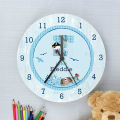 Personalised,Pirate,Shabby,Chic,Large,Wooden,Clock,Personalised Pirate Shabby Chic Large Wooden Clock, childrens clock,[ersonalised childrens clock