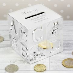 ABC,Moneybox,ABC Moneybox,childs money box,childrens money box,personalised money box,childs ist money box,silver plated money box,childs silver plated money box