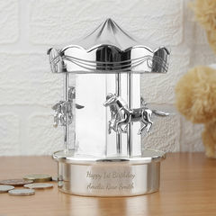 Carousel,Moneybox,Carousel Moneybox,boys money box,girls money box,personalised money box,engraved money box,silver plate money box