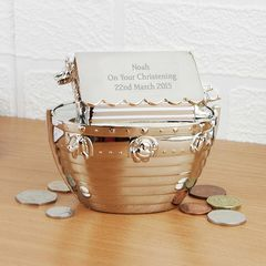 Silver,Noah's,Ark,Money,Box,Silver Noah's Ark Money Box,money box,moneybox,personalised money box,christening money box,new born money box,birthday money box