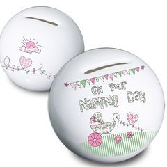 Pram,Bunting,Naming,Money,Box,Pram Bunting Naming Money Box,money box,moneybox,childs money box,girls money box