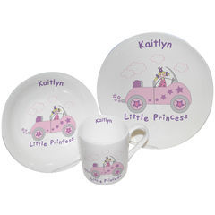 Little,Princess,in,Car,Breakfast,Set,Little Princess in Car Breakfast Set,childs breakfast set,childs personalised breakfast gift set,childs gift set